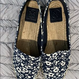 Tory Burch blue and white espadrilles. SZ 9.